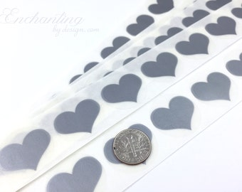 Silver Heart .70 inch scratch off stickers