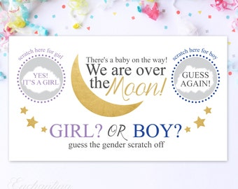 10 Baby Gender Reveal Scratch Off Cards - Guess the gender Gold Stars and moon