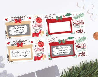 10 Custom DIY Secret Santa Holiday Christmas Party Game Scratch off Card