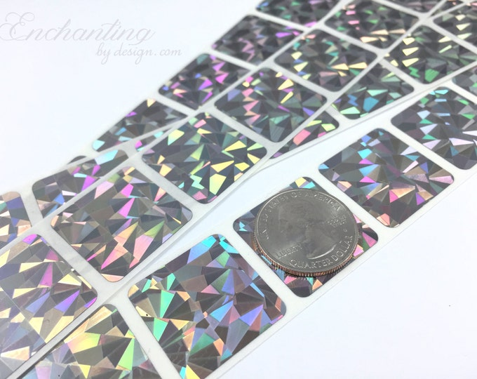 Hologram 1x1 inch Square scratch off stickers