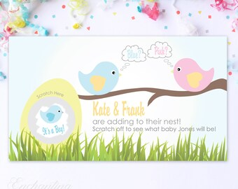 10 Custom Baby Gender Reveal Scratch Off Cards - Pink & Blue Spring Birds