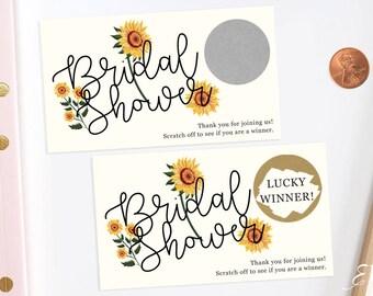 Sunflower - Bridal Shower Scratch Off Game - Bridal Shower Game - Scratch off Cards