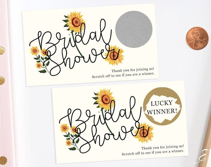 Sunflower - Bridal Shower Scratch Off Game - Bridal Shower Game - Scratch off Cards