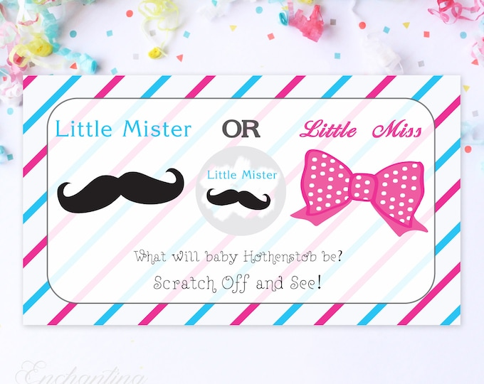 10 Custom Baby Gender Reveal Scratch Off Cards - Little Mr or Little Miss