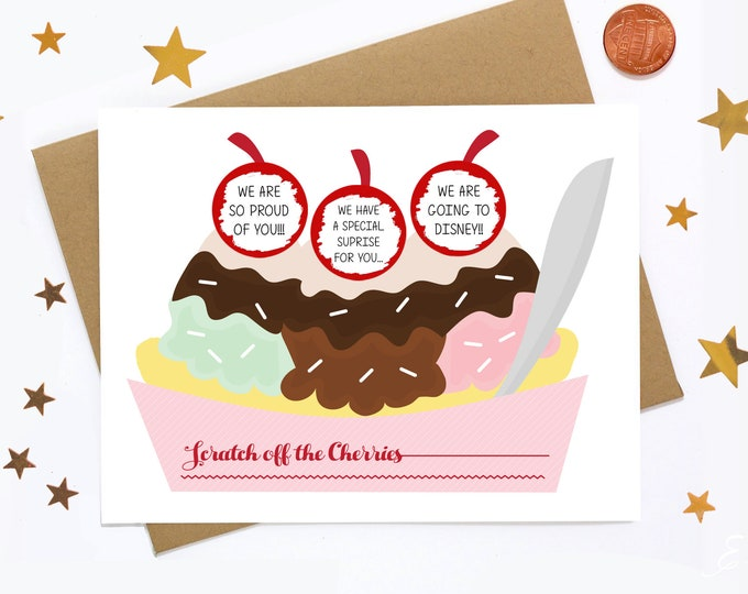 Personalized Scratch Off Greeting Card - Ice Cream Sunday - Add Your Own Message! Scratch Off Note Card