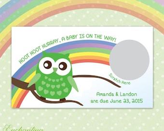 10 Shamrock St. Patricks Day Owl Gender Reveal Scratch Off Cards