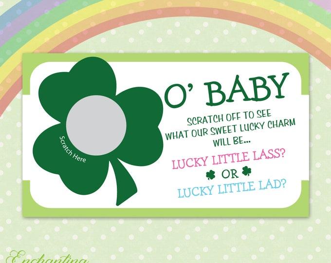 10 Shamrock St. Patricks Day Baby Gender Reveal Scratch Off Cards