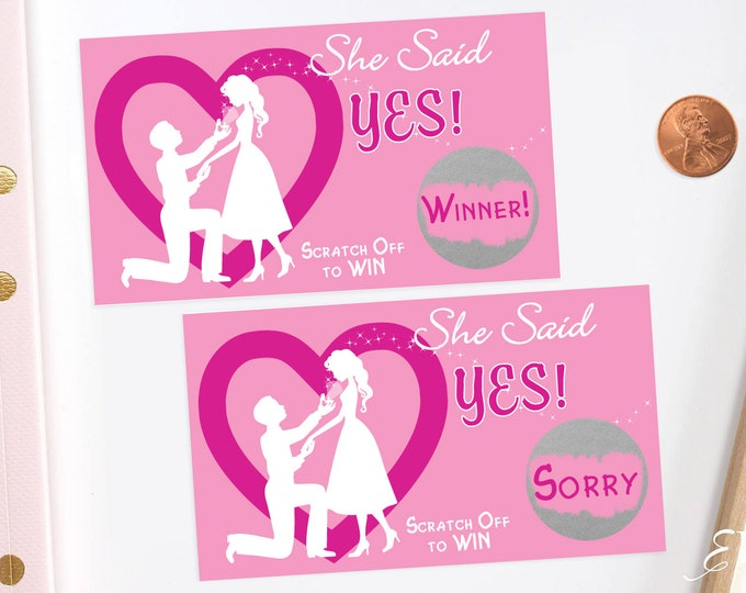 Pink Bridal Shower Scratch Off Cards - Bridal Shower Game - Bachelorette Party Game
