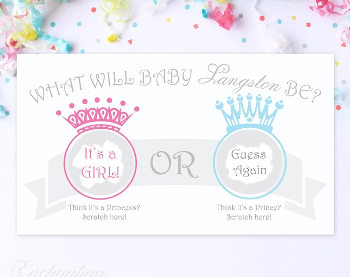 10 Custom Baby Gender Reveal Scratch Off Cards - Guess the gender Prince or Princess?