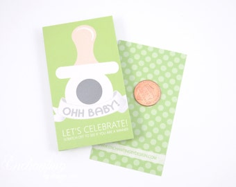 10 Green Binky Scratch Off Game Cards - Baby Shower Game