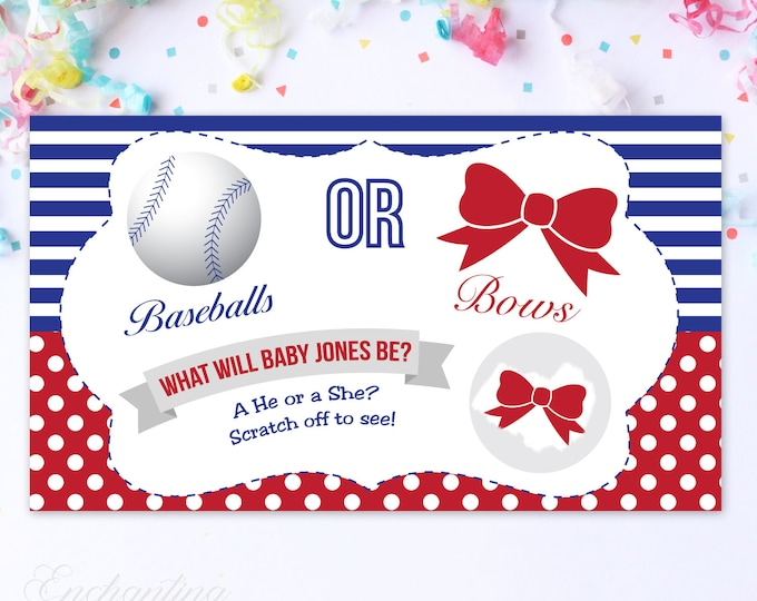 10 Custom Baby Gender Reveal Scratch Off Cards - Baseballs or Bows