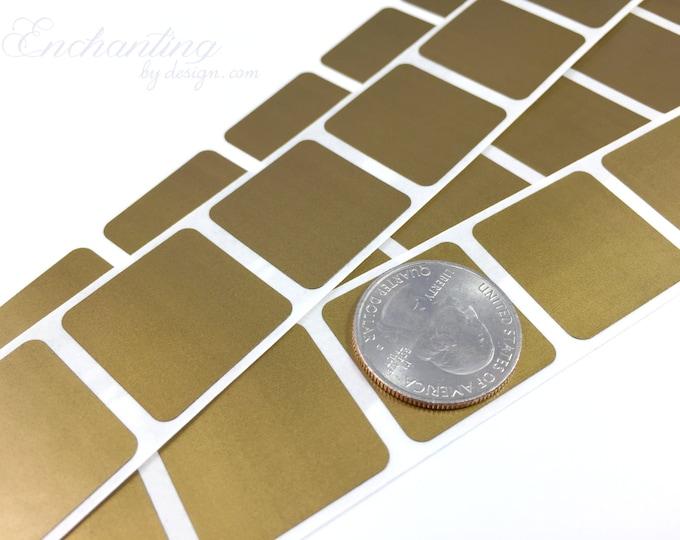 Gold 1 inch square scratch off stickers