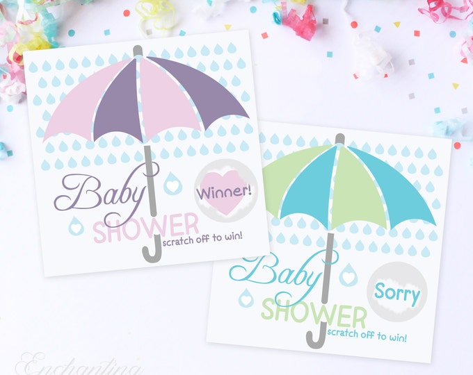 10 Pink or Blue Umbreall Baby Shower Scratch Off Game Cards - Baby Shower Game