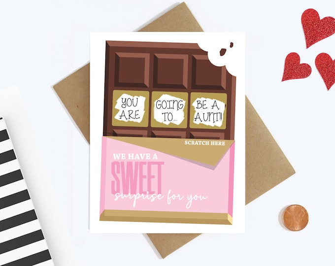 Aunt Pregnancy Announcement Scratch Off Card - Sister Pregnancy Reveal - Auntie To Be Card