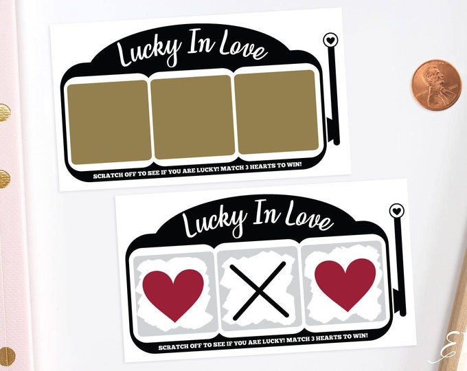 Slot Machine Lottery - Bridal Shower Scratch Off Game Cards - Bridal Shower Game - Bachelorette Party Game