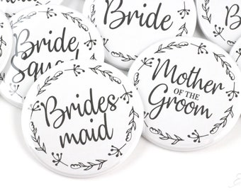 Bridal Shower Pinback Button Bridesmaid - Maid of Honor - Matron of Honor - Team Bride - Flower Girl - Junior Bridesmaid