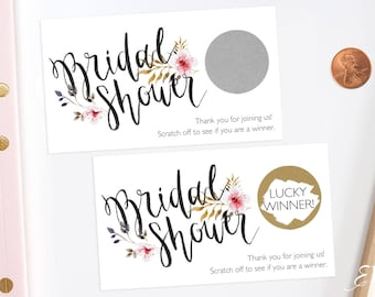 Rustic Floral - Bridal Shower Scratch Off Game - Bridal Shower Game - Scratch off Cards