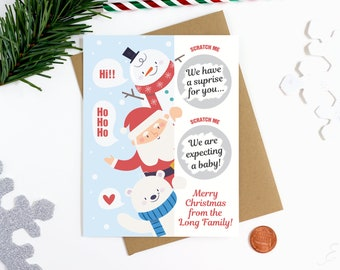 Christmas Scratch Off Pregnancy Announcement Card - We Are Expecting Card - Holiday Scratch Off Card