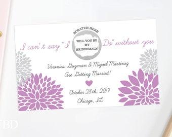 4 Custom Scratch Off Card - Will You Be My Bridesmaid card - bridal party card, wedding card, bridal party, bridesmaid invitation