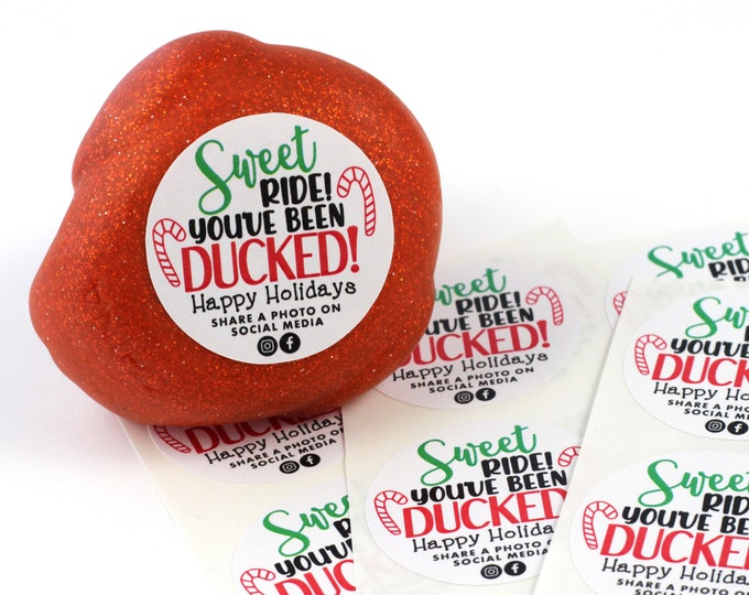 30 Round Stickers - You've been ducked - duck stickers - ducking tags - stickers for ducking - happy holidays - Christmas ducks