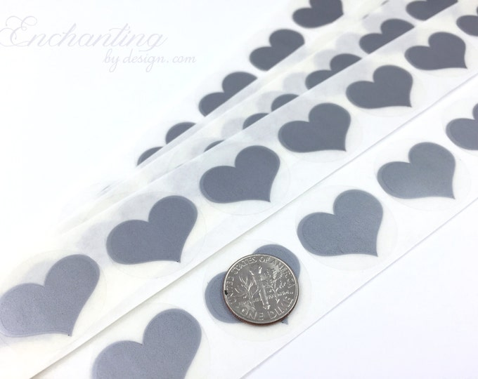 Silver Heart .70 inch scratch off stickers