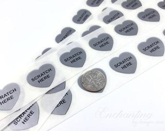 Silver Heart Scratch Here .70 inch scratch off stickers