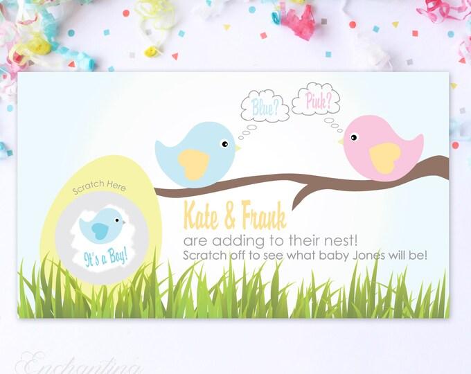 10 Custom Baby Gender Reveal Scratch Off Cards - Pink & Blue Spring Birds