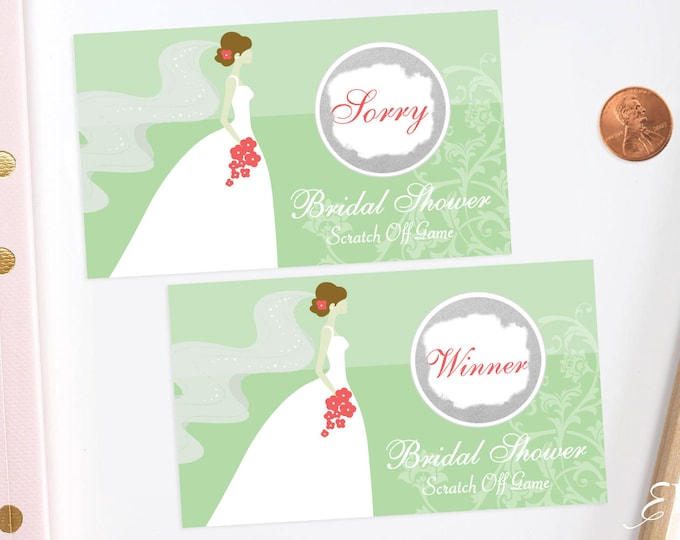 10 Lime Green Bridal Shower Scratch Off Cards - Bridal Shower Game - Bachelorette Party Game