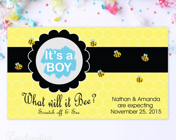 10 Custom Baby Gender Reveal Scratch Off Cards - What Will It Bee?