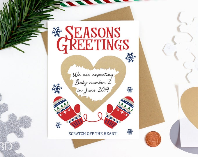 Holidays Scratch Off Pregnancy Reveal Card - Pregnancy Announcement - We're Expecting - Greeting Card