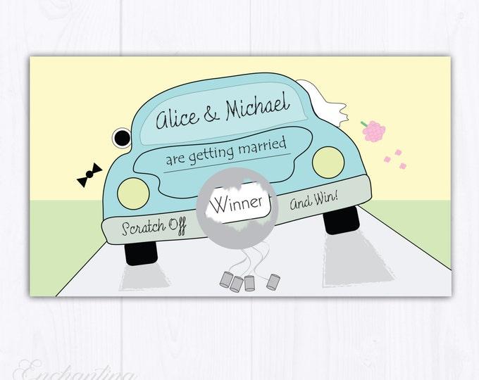 10 Custom Car Bridal Shower Scratch Off Cards - Bridal Shower Game - Bachelorette Party Game