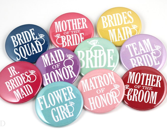 Custom Bachelorette Buttons - Bridal Shower Buttons - Bride Buttons - Bachelorette Pins - Bachelorette Party Pins - Wedding Party Pins