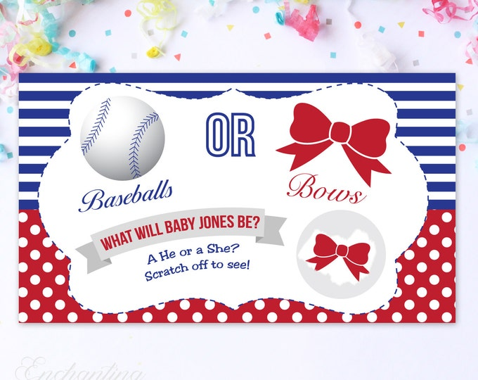 10 Custom Baby Gender Reveal Scratch Off Cards - Baseballs or Bows