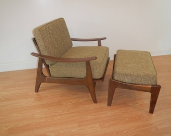 Superieur Mid Century Modern Style Lounge Chair With Ottoman / Accent Chair /  Upholstered Chair / Danish Modern Chair