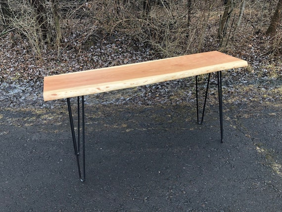Fine Live Edge Cherry Console Table With Hairpin Legs Mid Century Modern Hall Table Sofa Table Industrial Natural Edge Ncnpc Chair Design For Home Ncnpcorg