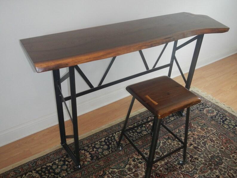 Sgabello Da Bar Industriale Nero Jim : Live edge stile industriale scrivania tavolo consolle etsy