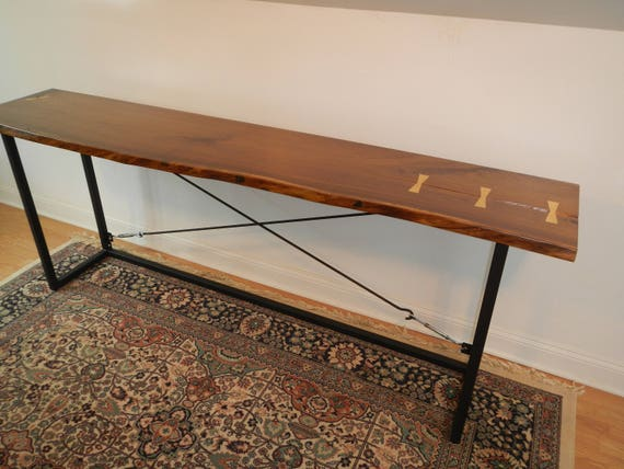 Live Edge Walnut Console Table / Sofa Table / Serving Table / Mid Century  Modern / Wood and Steel