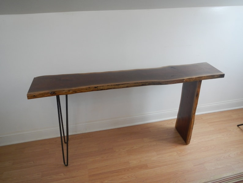 Mid Century Modern Live Edge Console Table / Hall Table / Sofa Table /  Industrial / Hairpin Legs / Modern / Walnut /Danish Modern