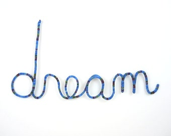 Blue DREAM Bedroom Wall Hanging Cursive Word Bed Headboard MLK WireWool KnittedSign Typography Child Room Decor
