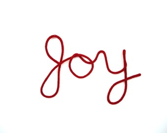 Wall Art Red JOY I-cord Knit Wall Hanging Cursive Word Ornament Decor Wire Wool Knitted Holiday Sign Typography Christmas in July