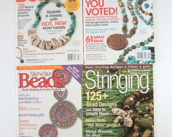 Beading Magazines Collection of 4 Jewelry How To Bead Collage Altered Art Jewelry Making Lamp Work Stringing  no. C2