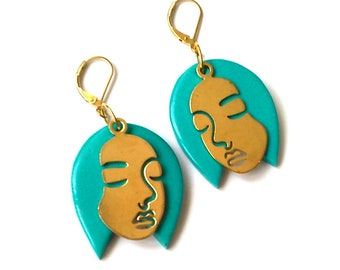 Turquoise Hair Face Earrings Blue Hair Statement Earrings  FREE UK Shipping