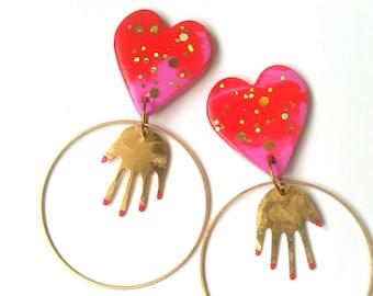 Heart Hands Statement Earrings Gold Brass Hoops Hand Talisman Red Glitter Valentines Hearts