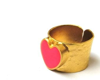 Neon Pink Heart Ring Gold Statement Ring Adjustable FREE UK SHIPPING