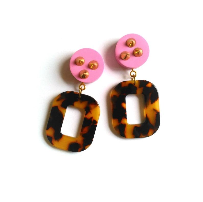 Tortoiseshell Hoop Earrings Tortoise Shell Mint Brass Statement Earrings Large Hoops Retro Pin Up FREE UK SHIPPING