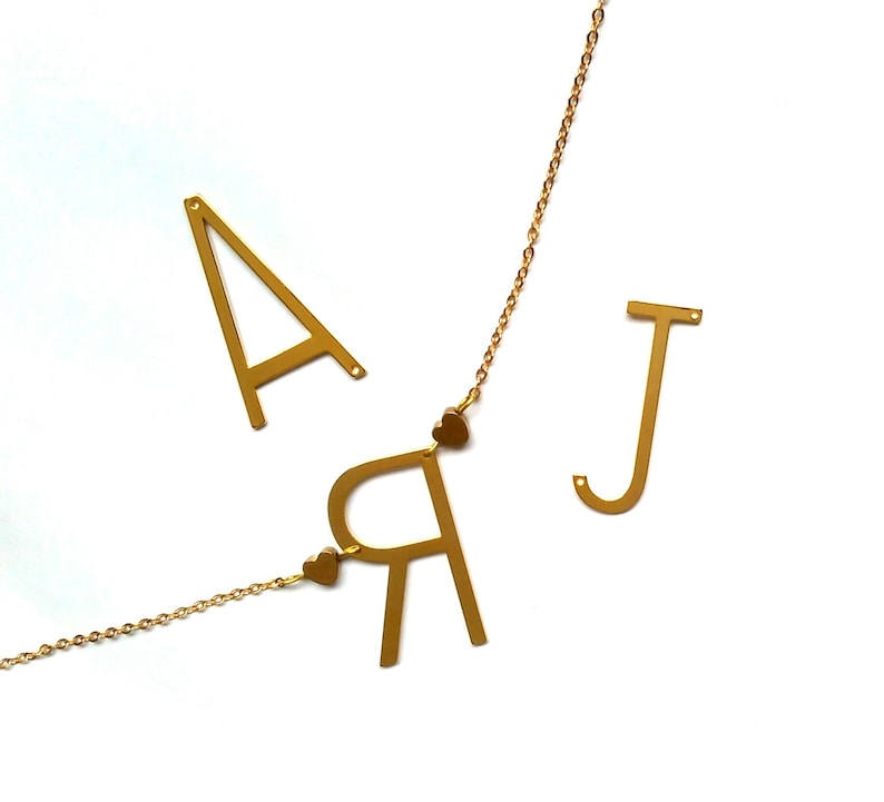 Initial Necklace Personalised Gold Choker Letter necklace Custom Name Monogram Gift