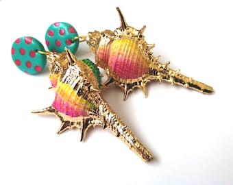 Rainbow Seashell Earrings Colourful Shell Statement Earrings Gold Shell Mermaid Earrings FREE UK SHIPPING