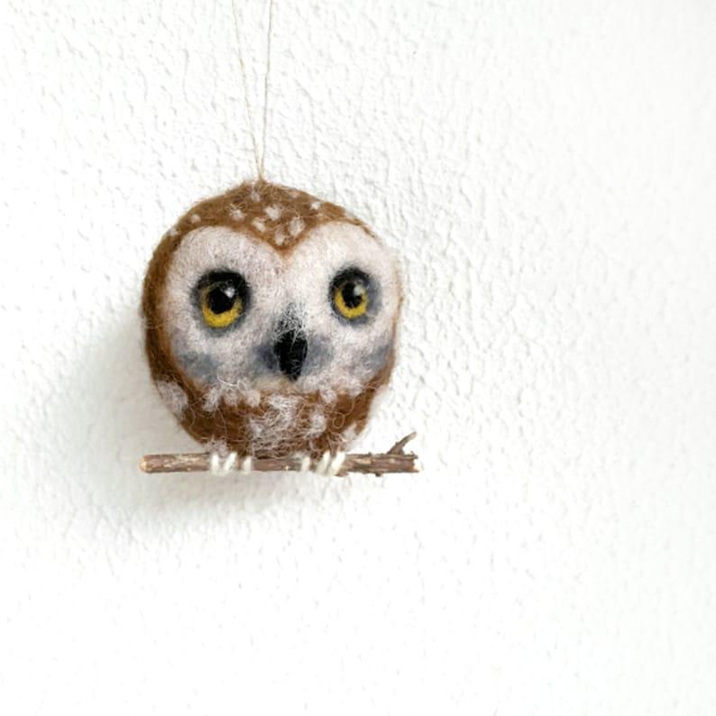 Christmas Owl Holiday Ornament Wool Needle Felt Decoration image 0