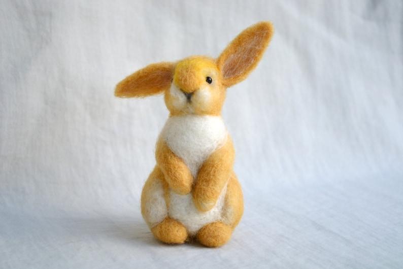 Bunny....Felt toy Handmade Doll Soft Sculpture OOAK Needle image 0