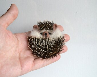 Felted Brooch, Animal Pin, Hedgehog